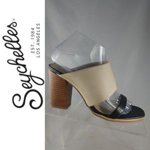 Seychelles Size 7.5 M Lyra Black & Nude mule heels